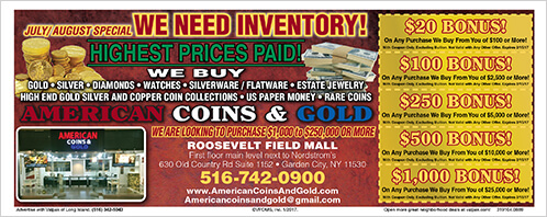 Specials american coins gold for Roosevelt field jewelry stores